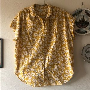 Madewell Yellow Floral Print Blouse Size M